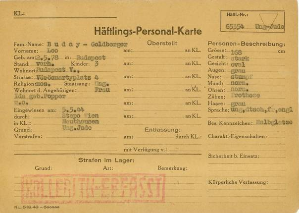 Leó Goldberger's Mauthausen personal record. Source: Wikipedia