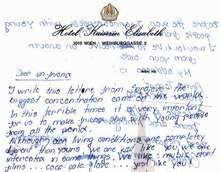 children's war letters from Sarajevo