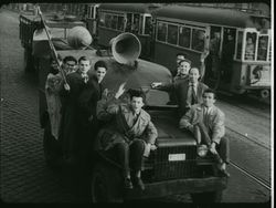 The small truck of the Petőfi Circle in 1956 on 23 october on its way to Bem Sq.